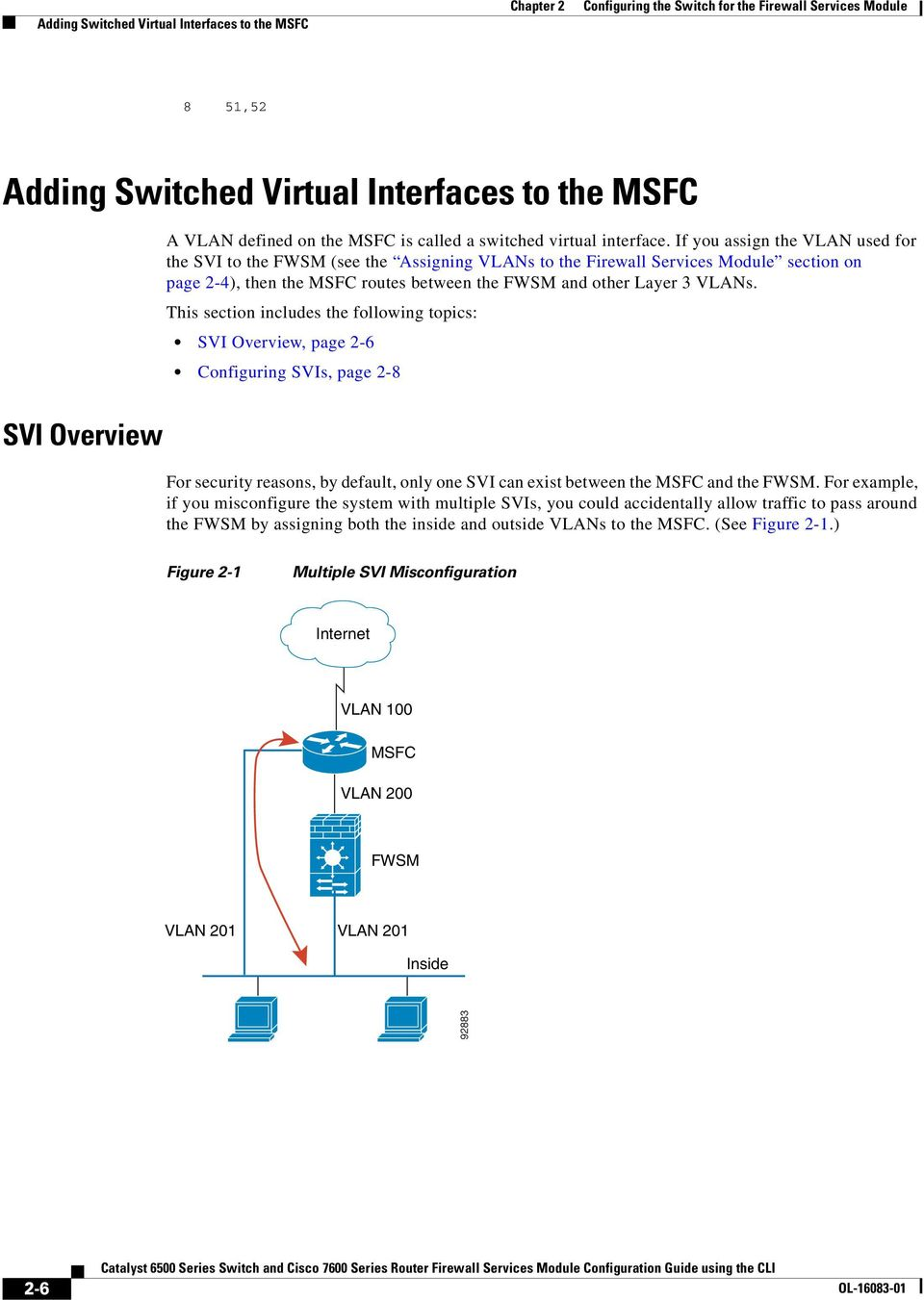 Configuring The Switch For Firewall Services Module Pdf Note Ports On That Are Connected To Asa Must Be In This Section Includes Following Topics Svi Overview Page 2 6 Svis