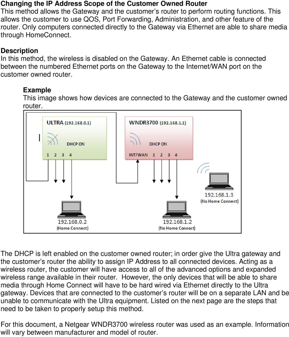 Only computers connected directly to the Gateway via Ethernet are able to share media through HomeConnect. Description In this method, the wireless is disabled on the Gateway.