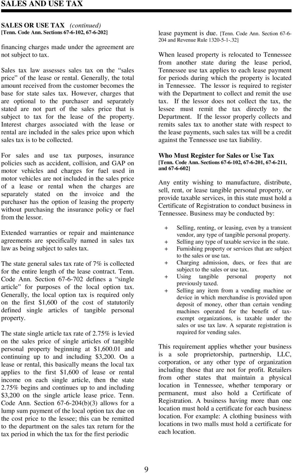 Tennessee Sales and Use Tax Guide - PDF
