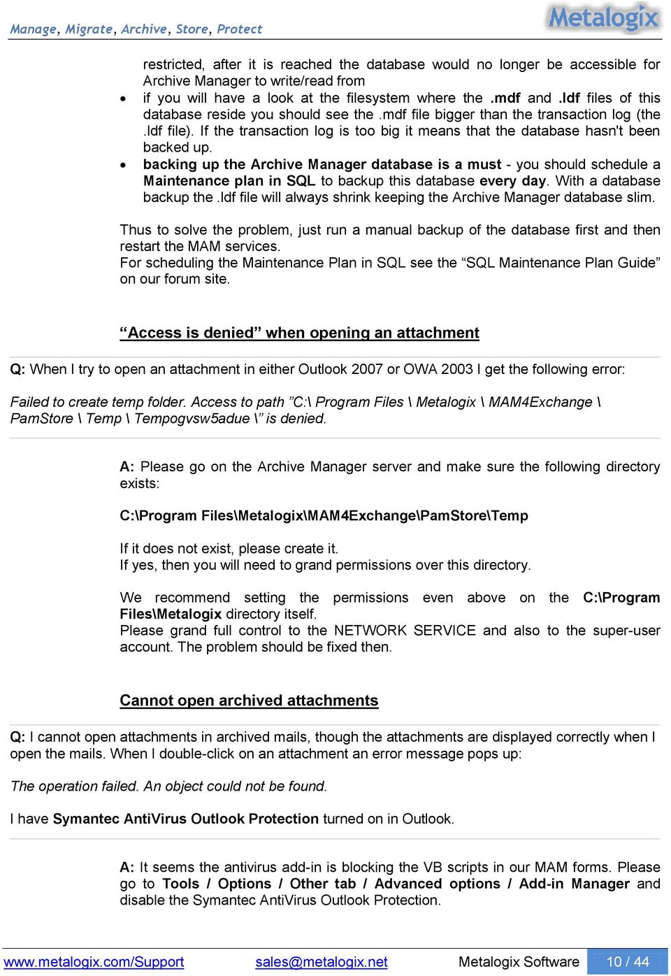 Archive Manager Exchange Edition MS Outlook Addin Troubleshooting - PDF