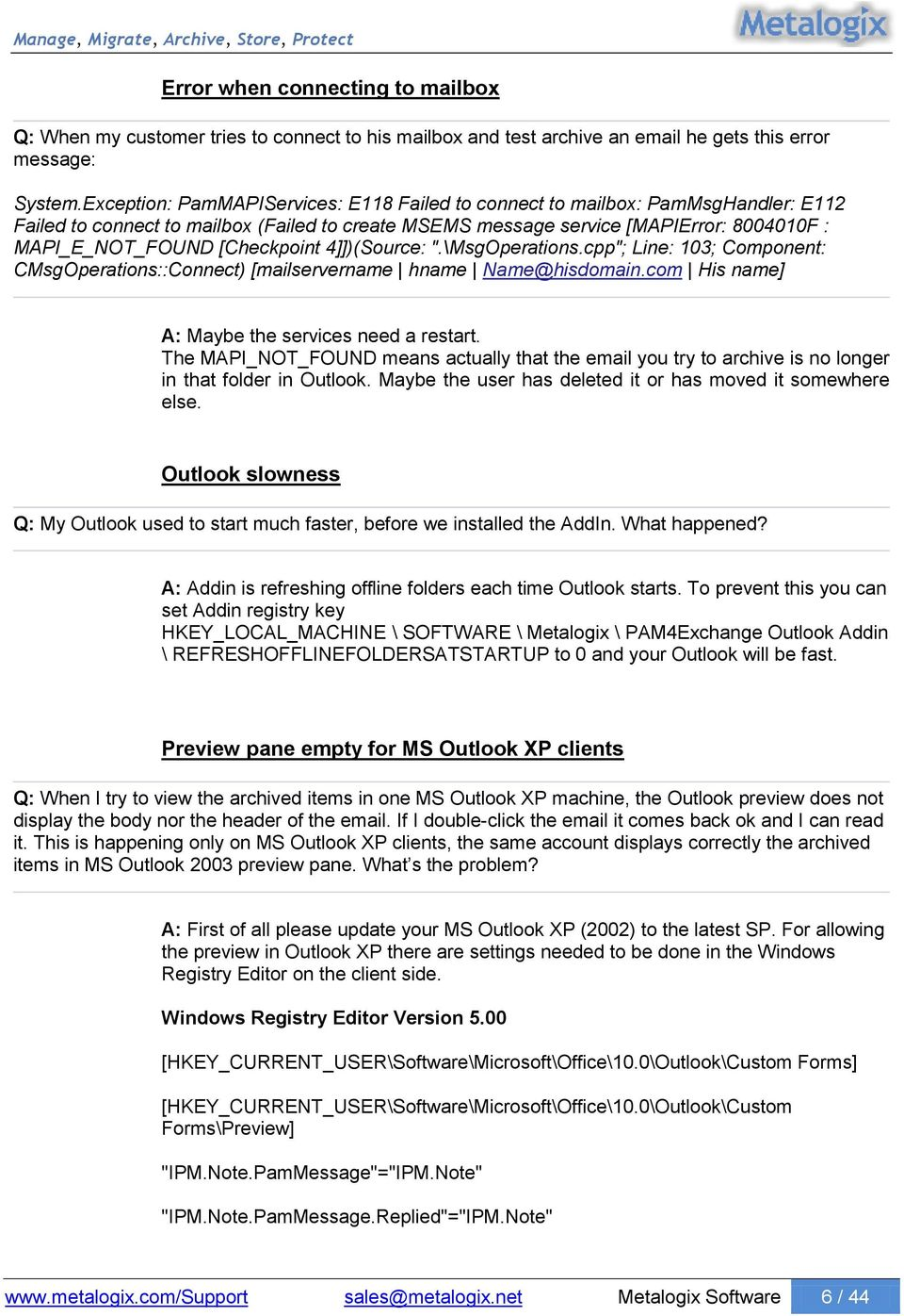 Archive Manager Exchange Edition MS Outlook Addin