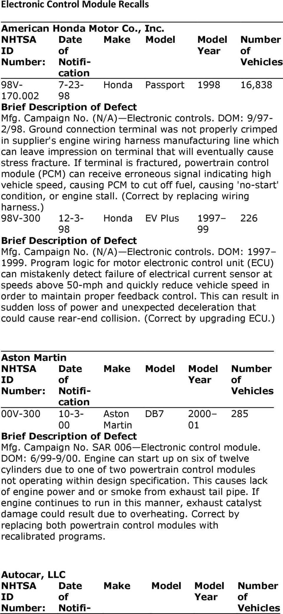 Electronic Control Module Recalls Pdf Sentra Ignition Wiring Harness If Terminal Is Fractured Powertrain Pcm Can Receive Erroneous Signal Indicating