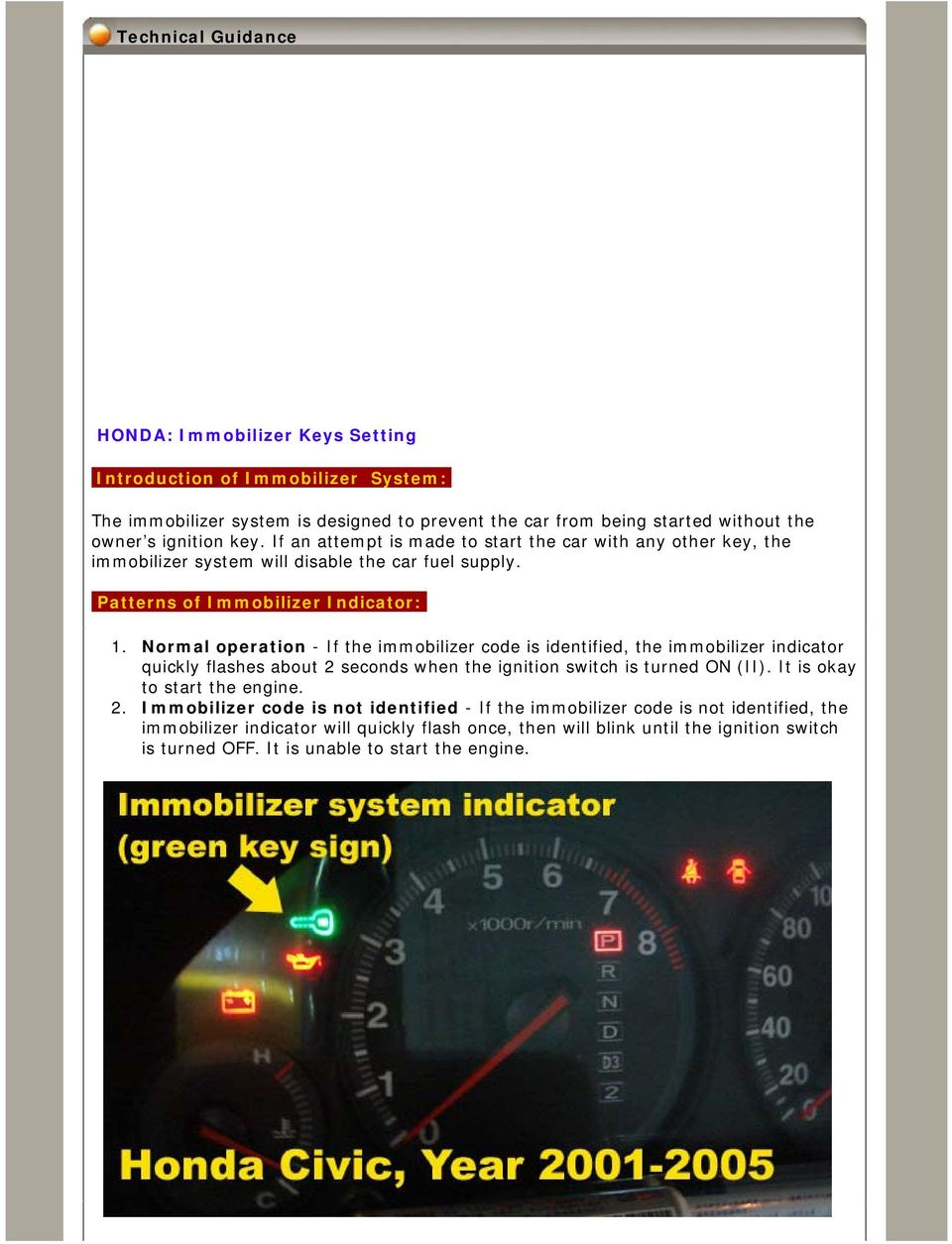 Technical Guidance  HONDA: Immobilizer Keys Setting  Introduction of