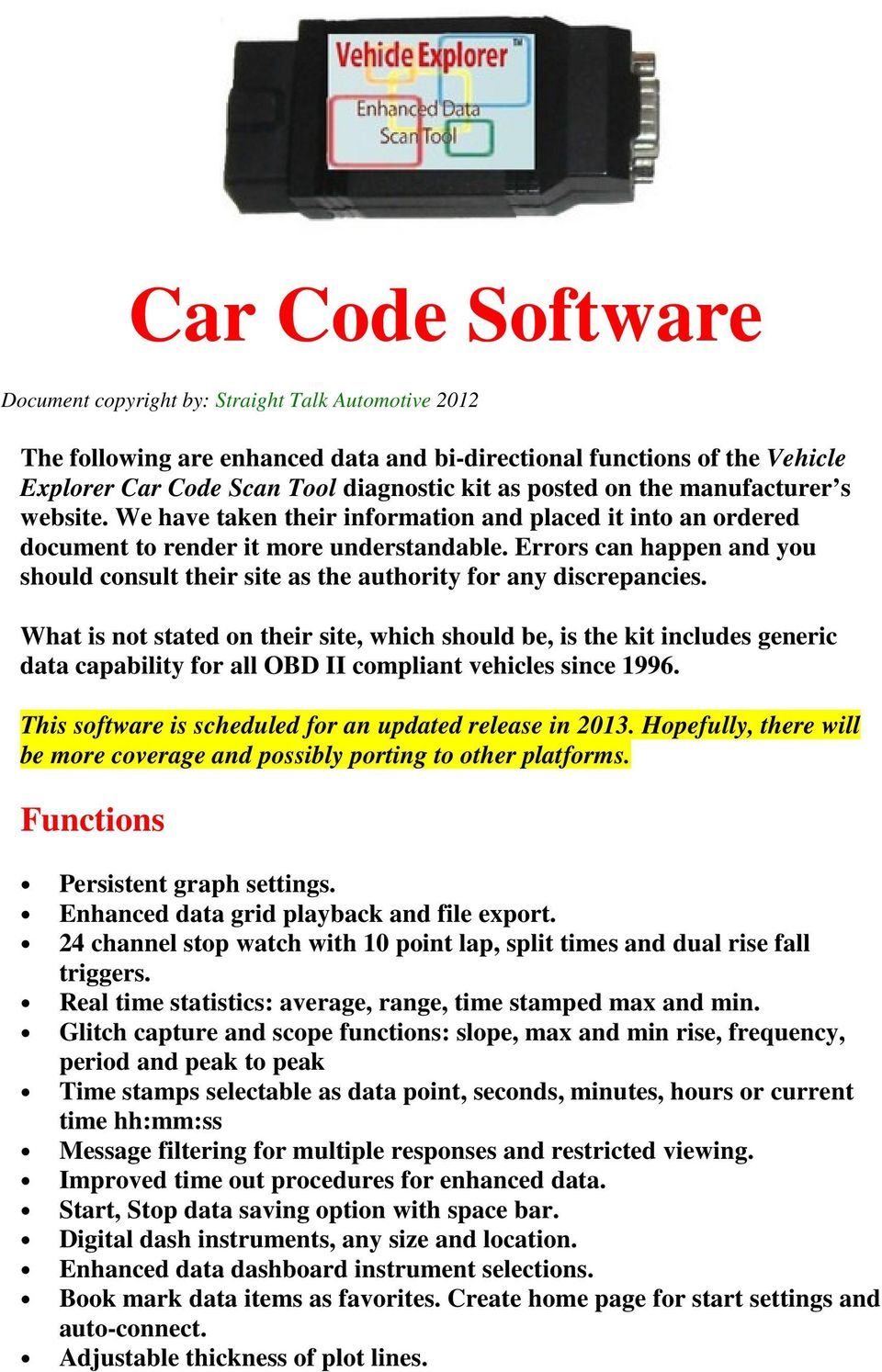 Car Code Software The Following Are Enhanced Data And Bi Directional 2000 Dodge Durango Evaporative System Monitor Schematic Diagram Errors Can Happen You Should Consult Their Site As Authority For Any Discrepancies