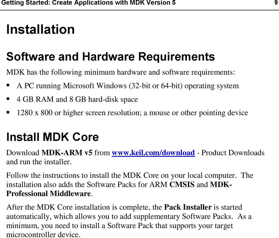 Getting Started  Create Applications with MDK Version 5 for