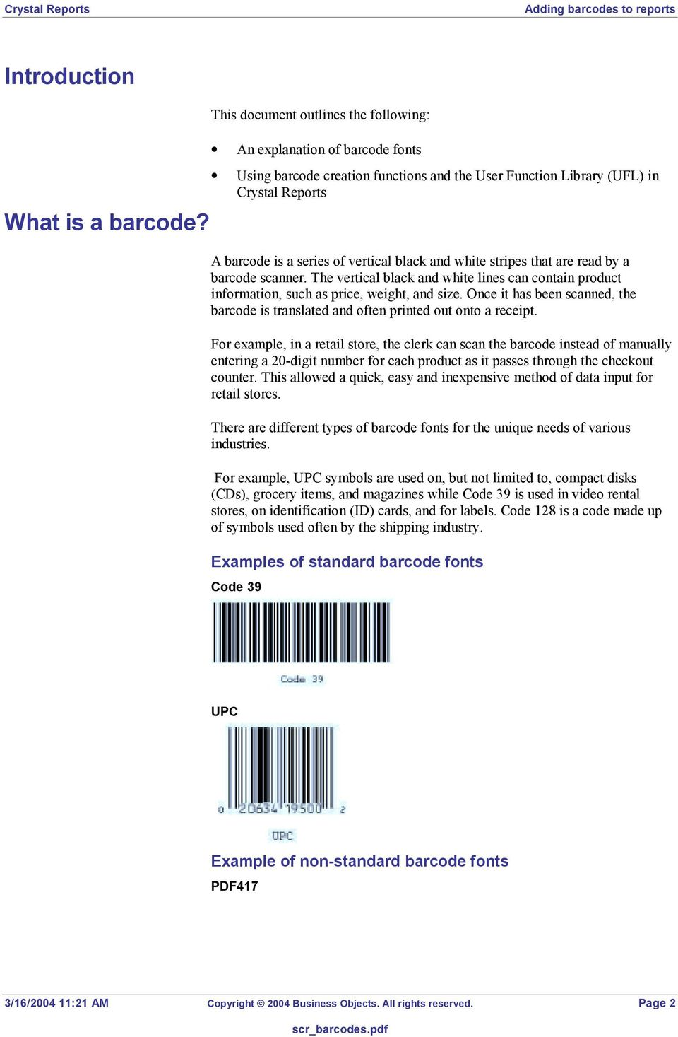 Crystal Reports  Overview  Contents  Adding barcodes to