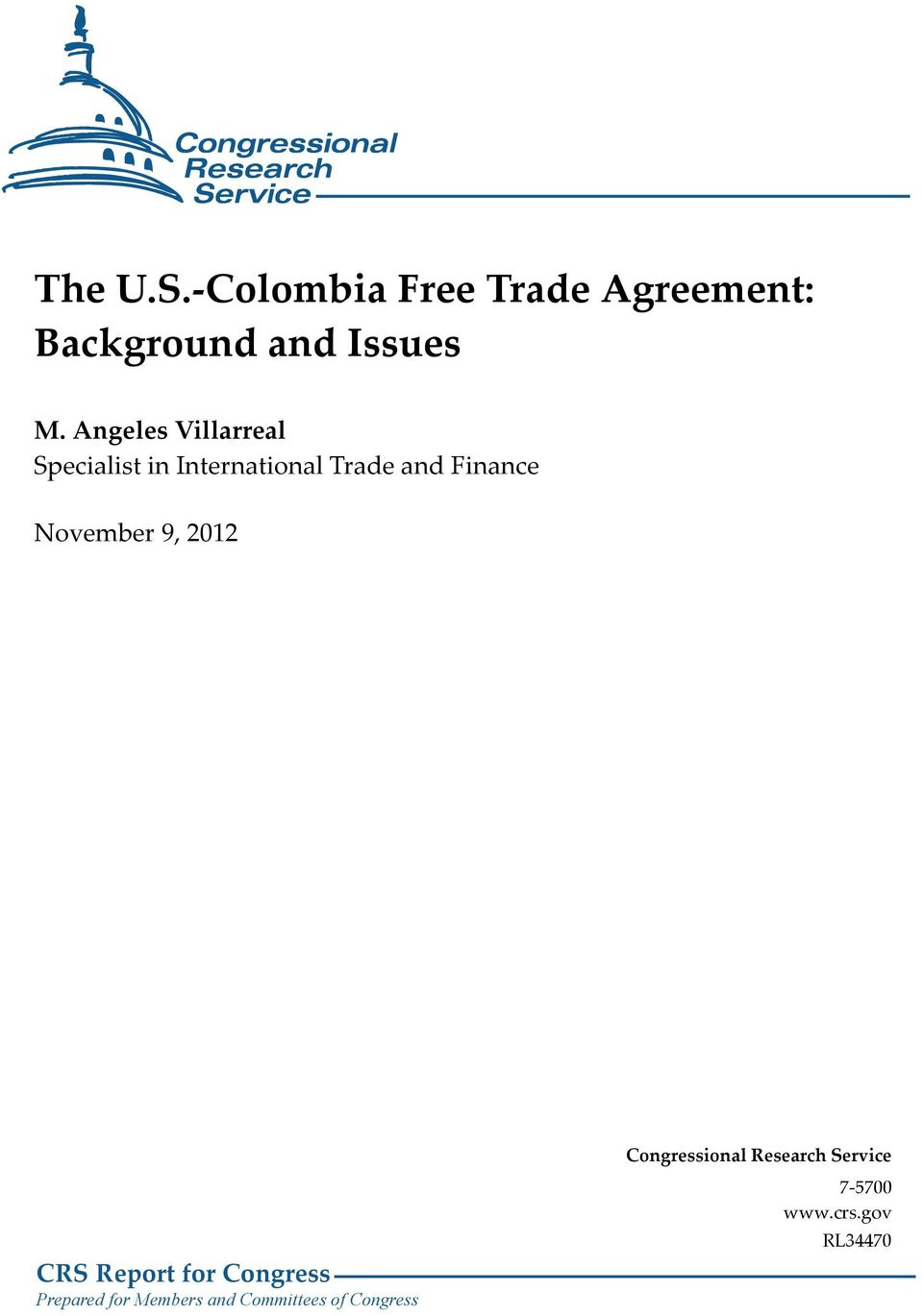 The Us Colombia Free Trade Agreement Background And Issues Pdf