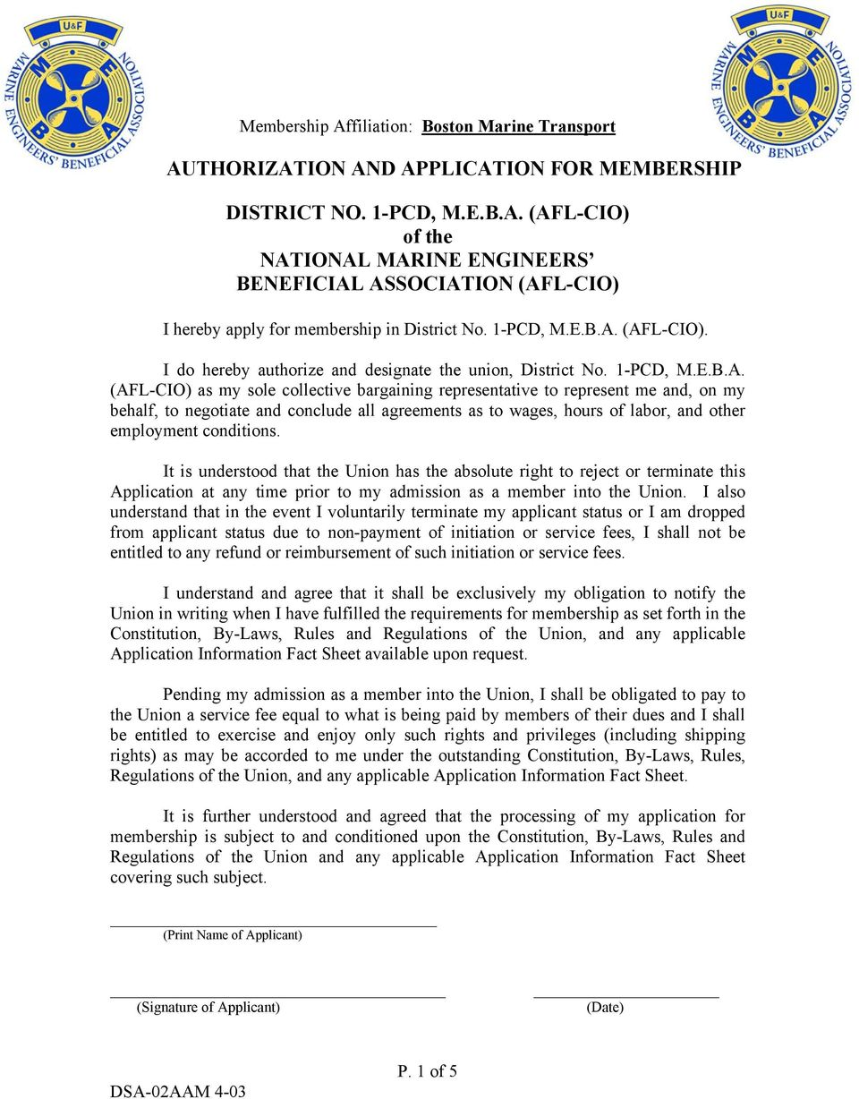 AUTHORIZATION AND APPLICATION FOR MEMBERSHIP  DISTRICT NO  1