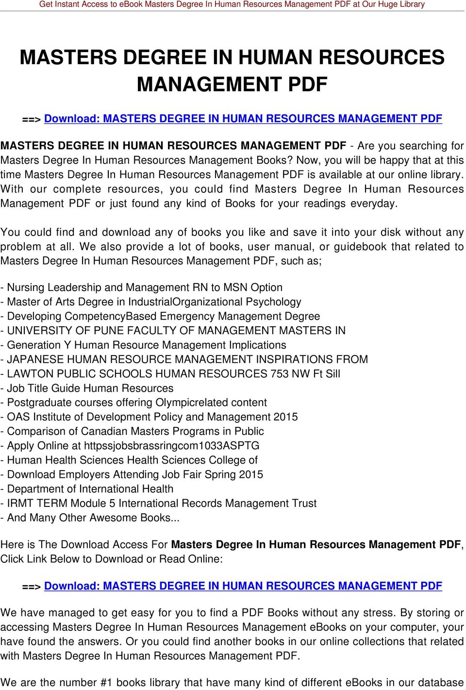 MASTERS DEGREE IN HUMAN RESOURCES MANAGEMENT PDF PDF