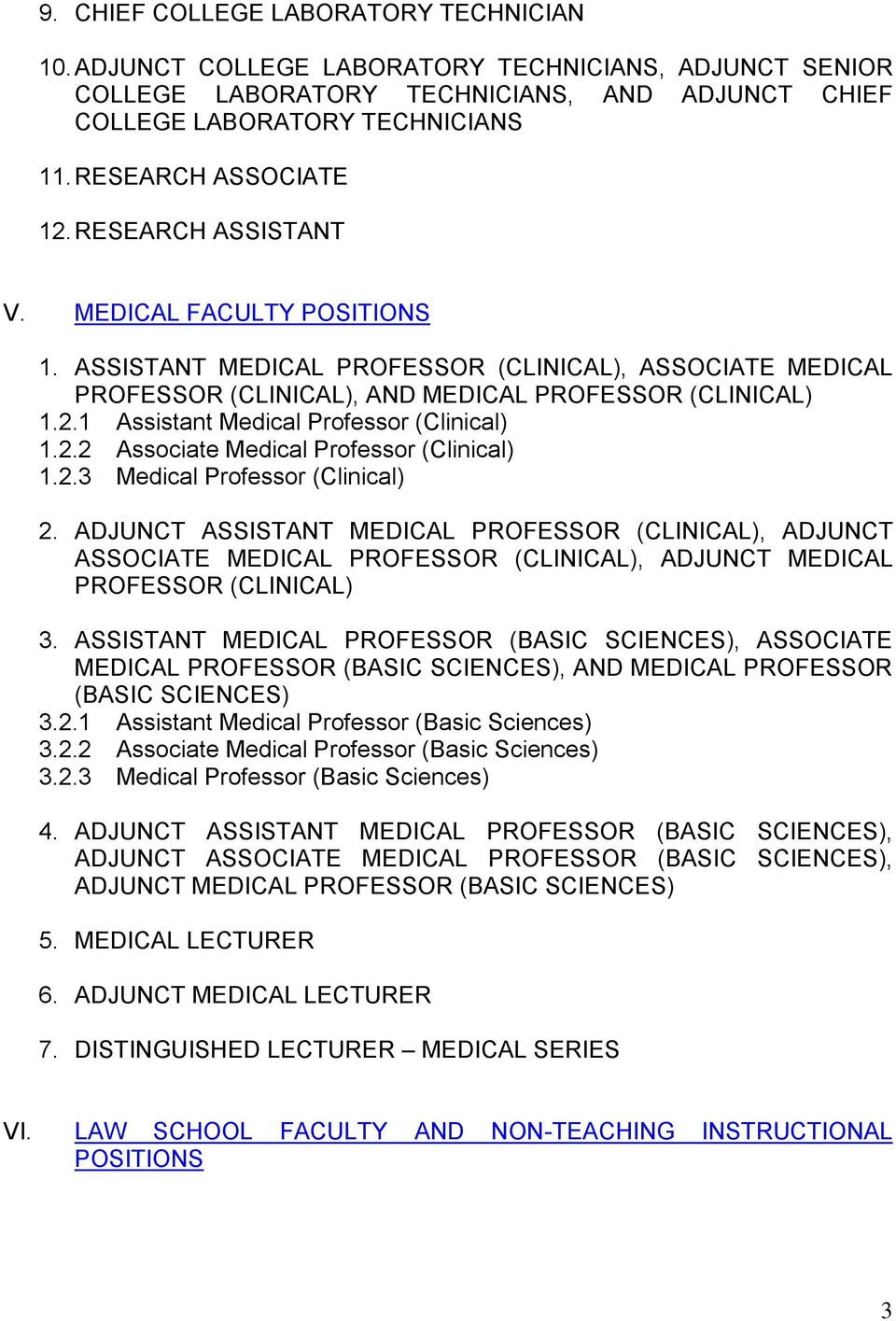 2.2 Associate Medical Professor (Clinical) 1.2.3 Medical Professor (Clinical) 2.