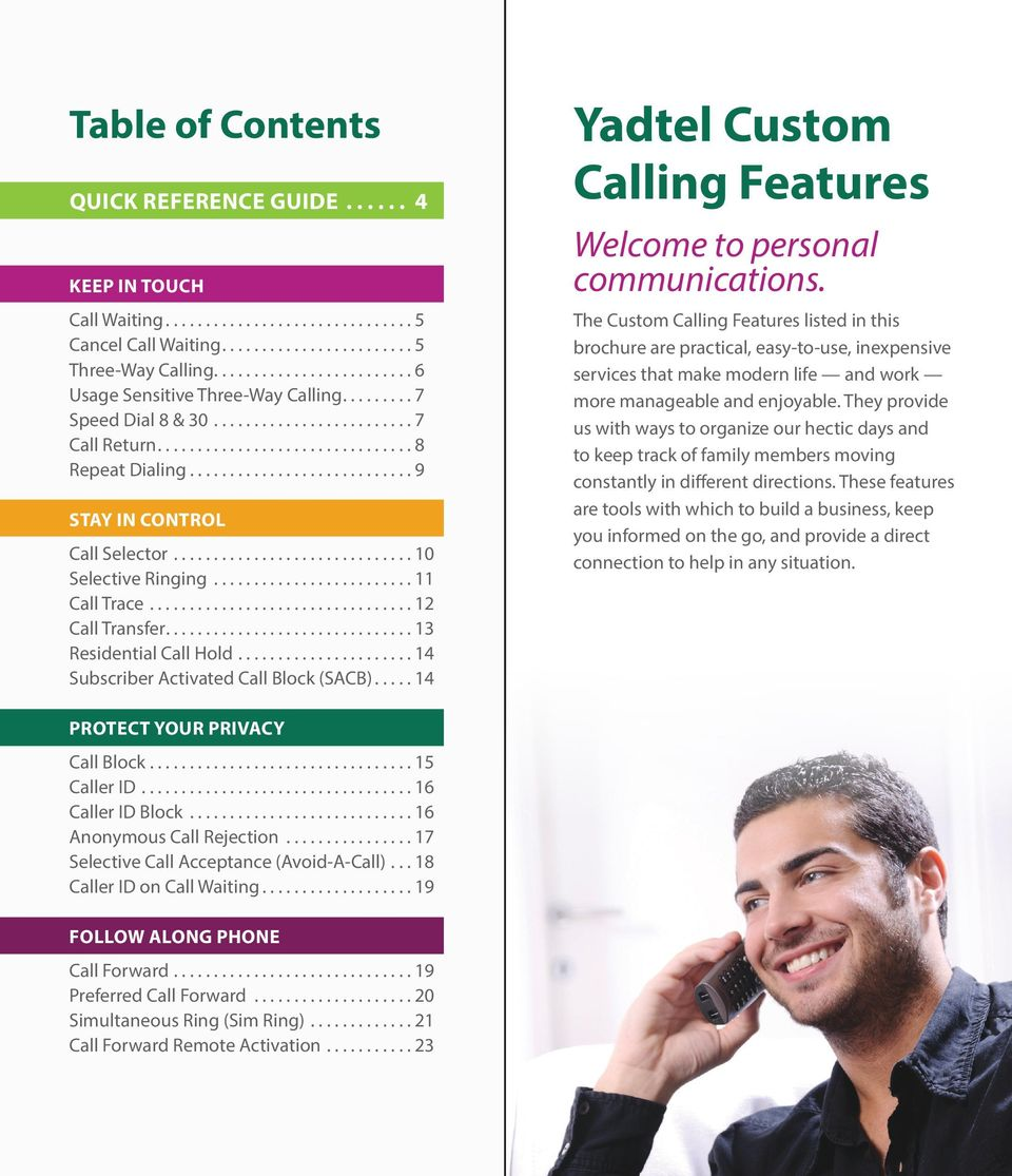 ... Yadtel Custom Calling Features Welcome to personal communications.