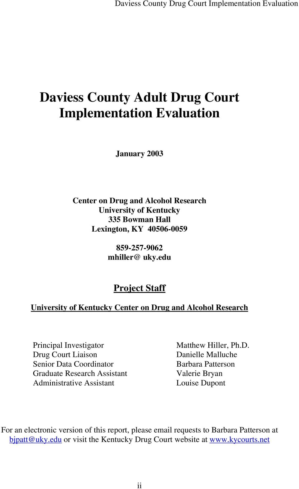 Daviess County Drug Court Implementation Evaluation  Daviess