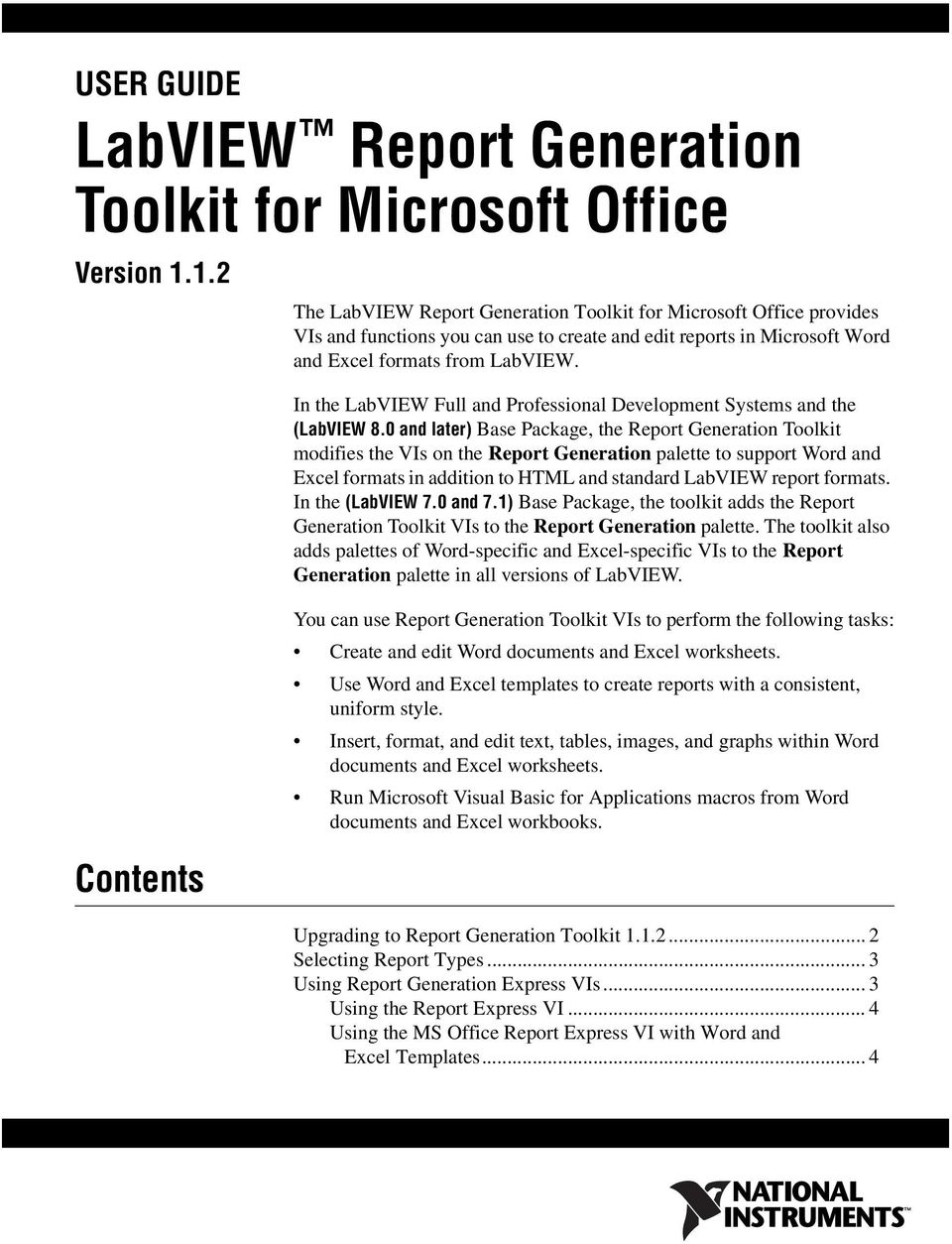 Labview report generation toolkit for microsoft office pdf in the labview full and professional development systems and the labview 8 ibookread Download