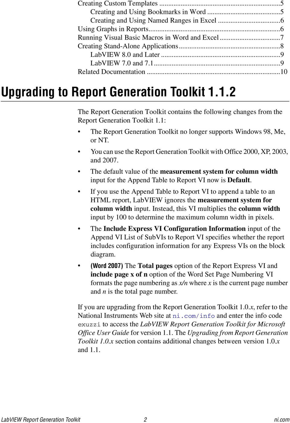 LabVIEW Report Generation Toolkit for Microsoft Office - PDF