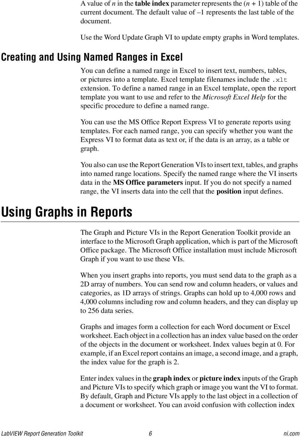 Labview report generation toolkit for microsoft office pdf creating and using named ranges in excel using graphs in reports you can define a named ibookread Download