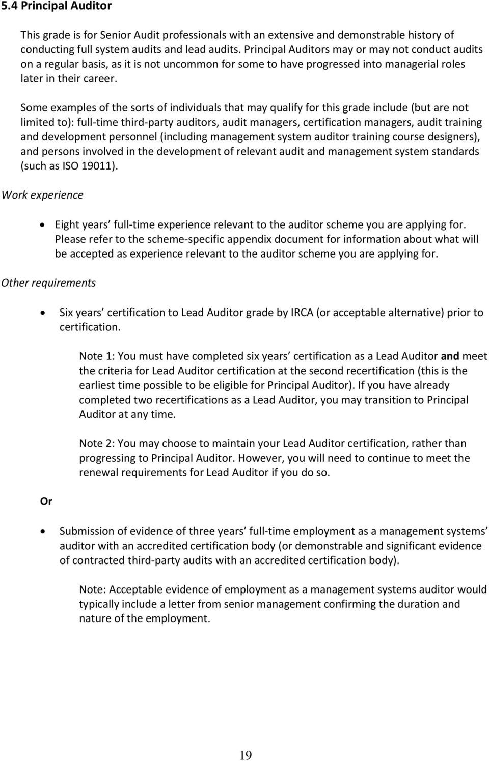 Requirements For Certification As An Irca Auditor All Schemes Pdf