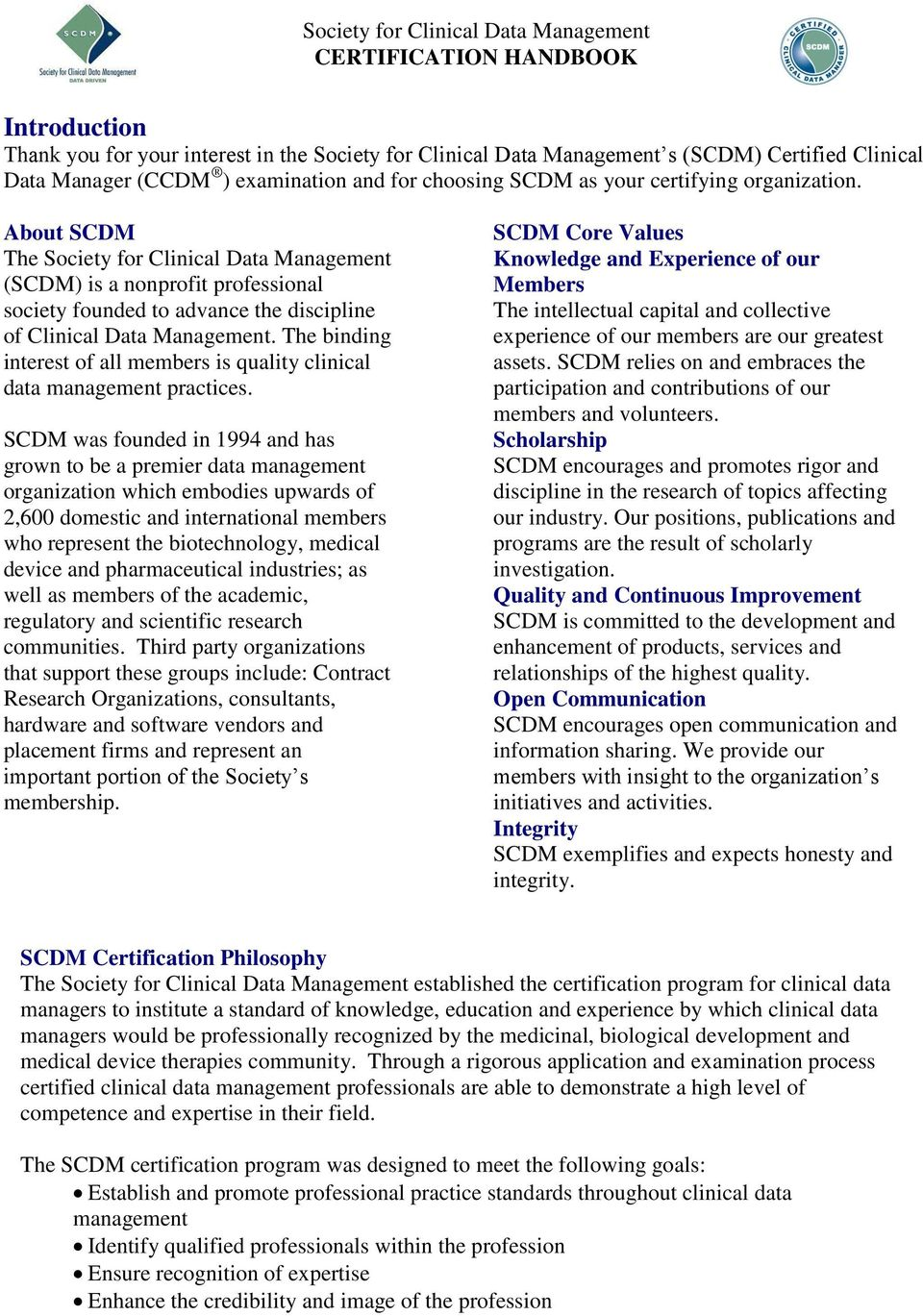 Society For Clinical Data Management Certification Handbook Pdf