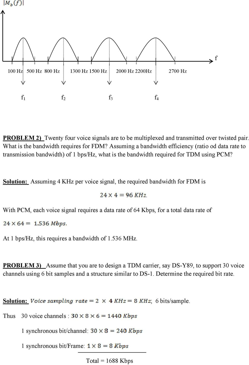 Tutorial For Chapter 8 Pdf Voice Bandwidth Filter Assuming 4 Khz Per Signal The Required Fdm Is With Pcm