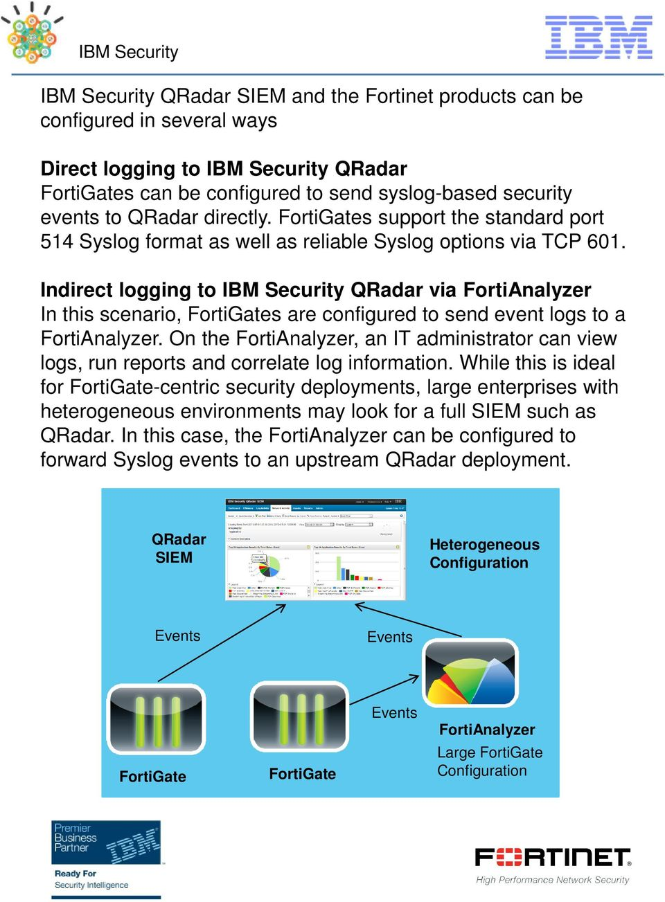 Indirect logging to IBM Security QRadar via FortiAnalyzer In this scenario, s are configured to send event logs to a FortiAnalyzer.