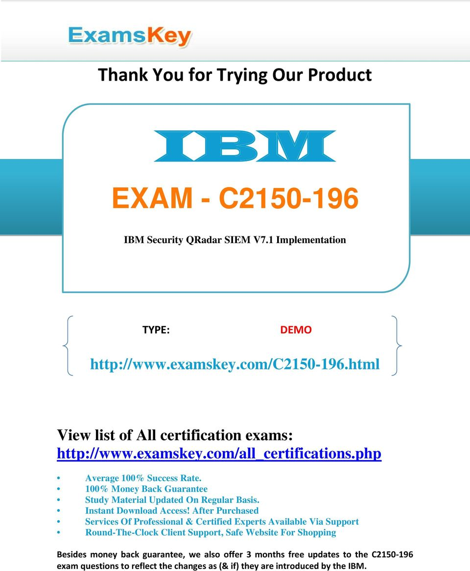 IBM EXAM - C IBM Security QRadar SIEM V7 1 Implementation  - PDF