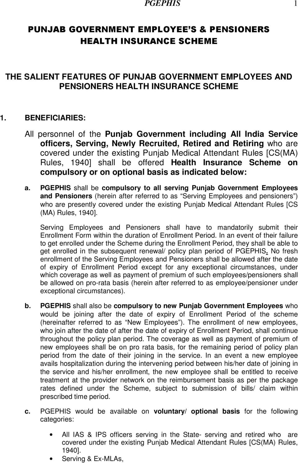 PGEPHIS 1 PUNJAB GOVERNMENT EMPLOYEE S & PENSIONERS HEALTH INSURANCE