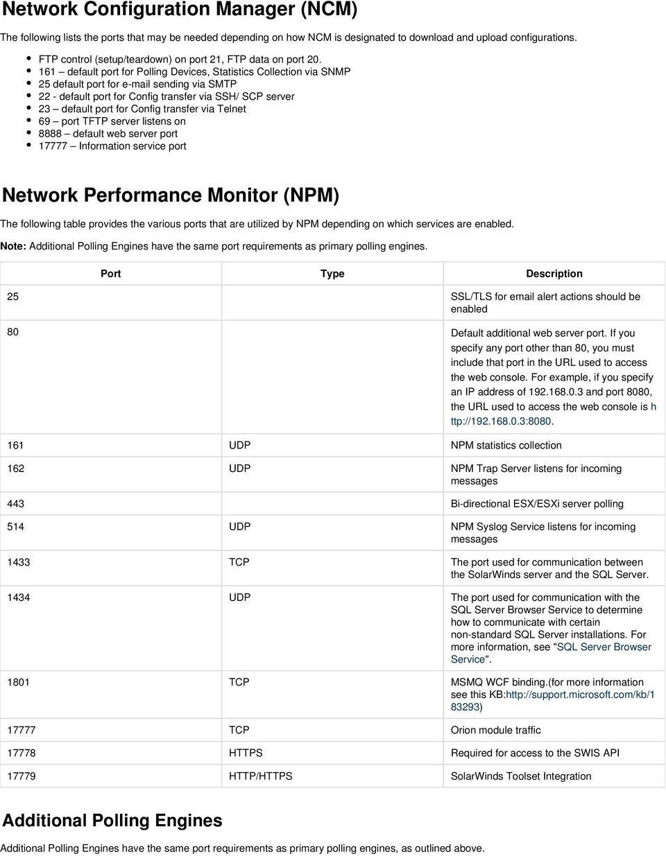 Port Requirements for SolarWinds Products - PDF