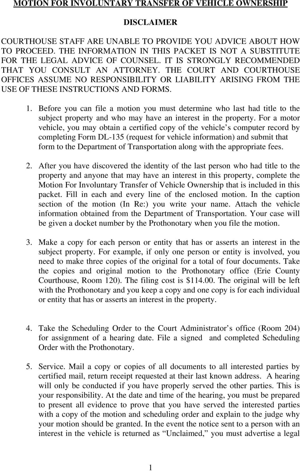 FACT SHEET  Involuntary Transfer of Ownership of a Vehicle