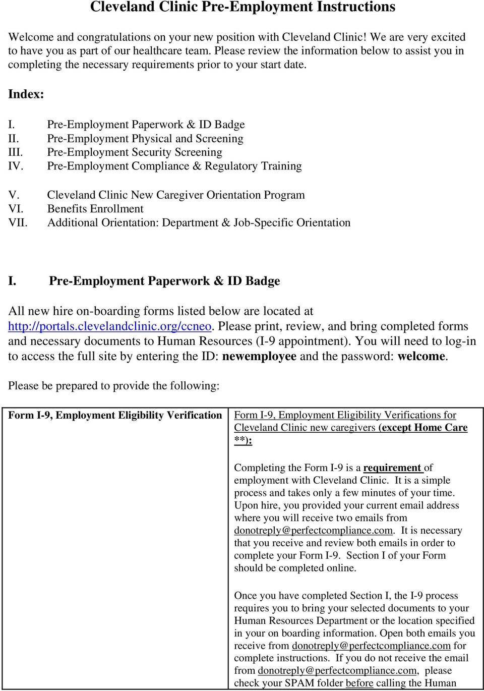 Cleveland Clinic Pre-Employment Instructions - PDF