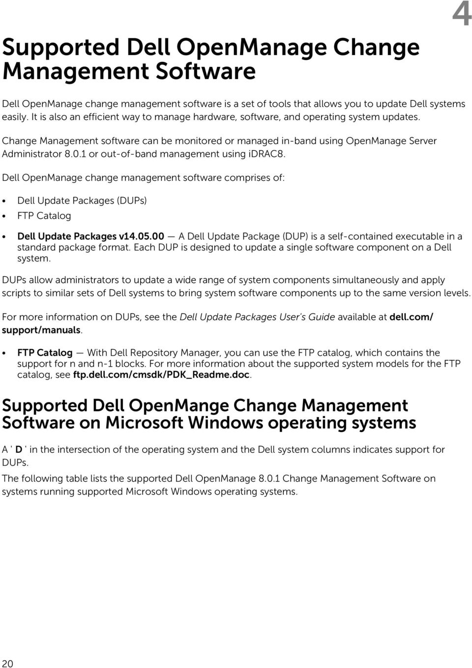 Dell Systems Management OpenManage Software Support Matrix Version PDF