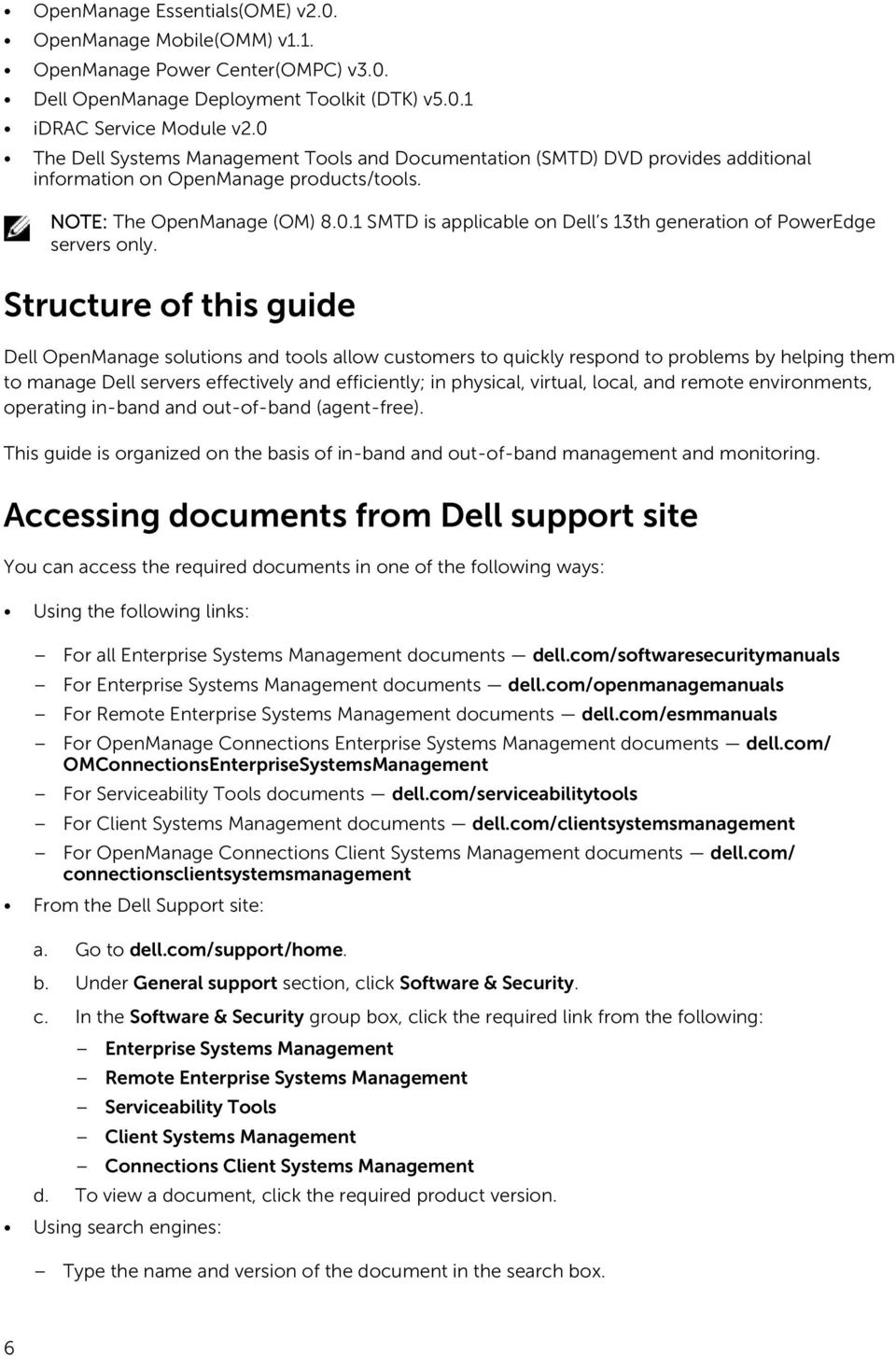 Dell Systems Management OpenManage Software Support Matrix