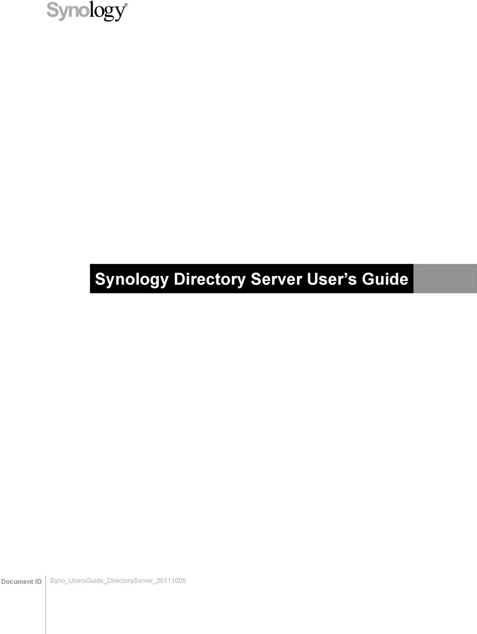 Synology Directory Server User s Guide - PDF