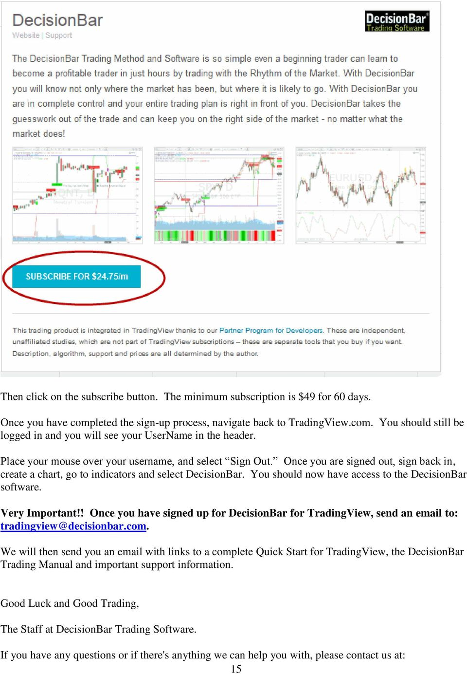Signing up for DecisionBar for TradingView - PDF