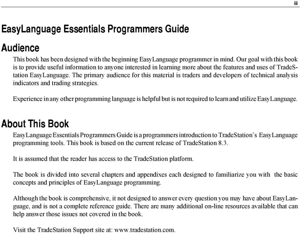 EasyLanguage Essentials  Programmers Guide - PDF