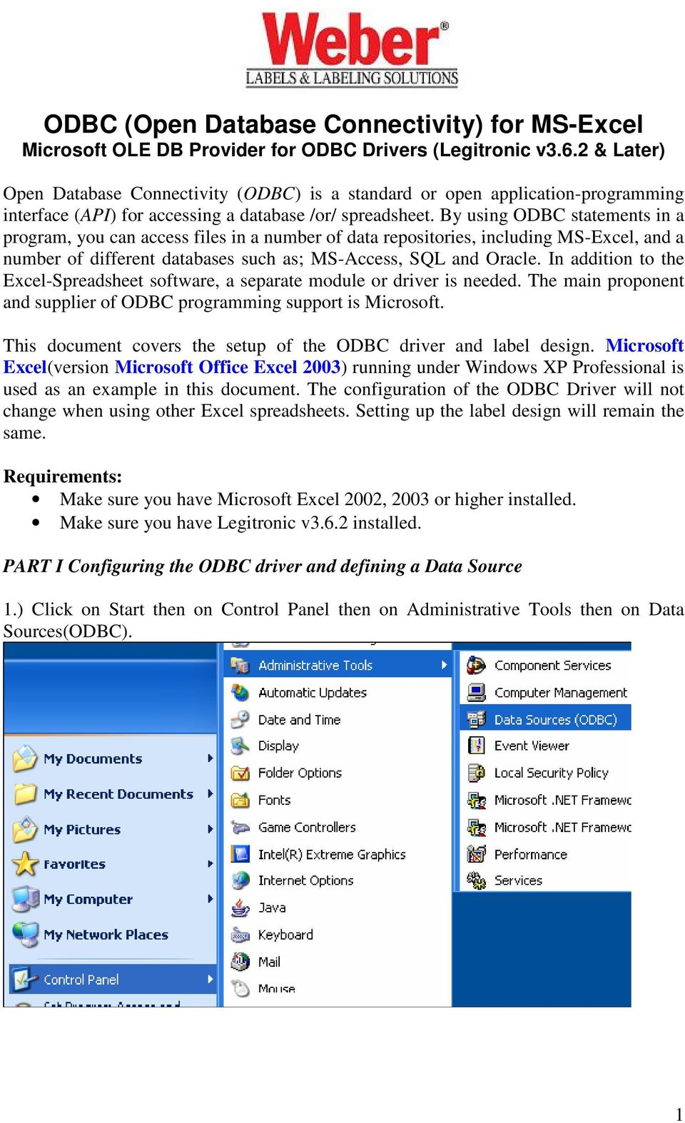 ODBC (Open Database Connectivity) for MS-Excel Microsoft OLE DB