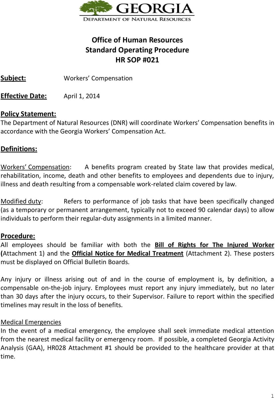 Office of Human Resources Standard Operating Procedure HR SOP #021 - PDF