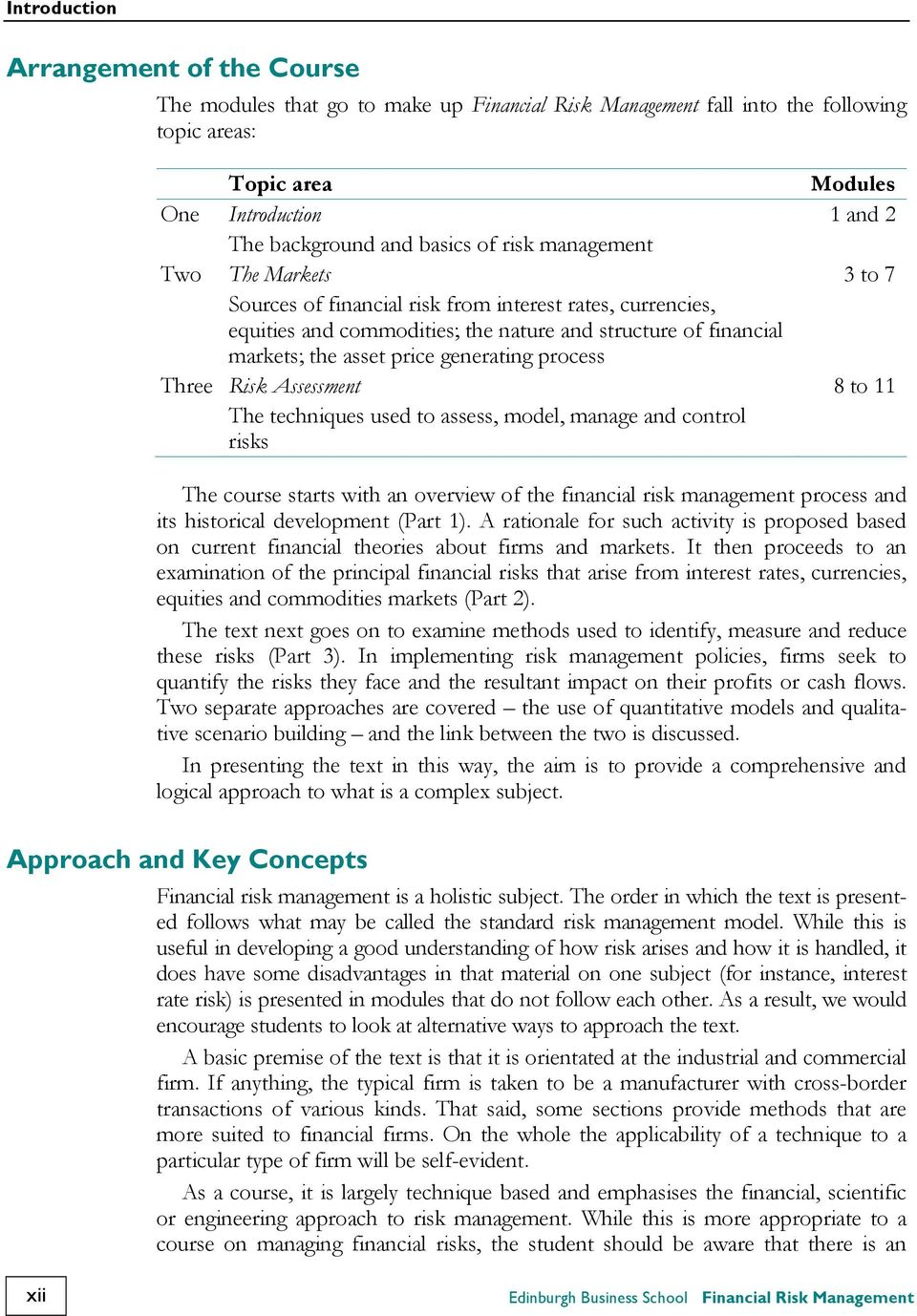 ... Edinburgh Business School Financial Risk Management. generating process  Three Risk Assessment 8 to 11 The techniques used to assess, model,