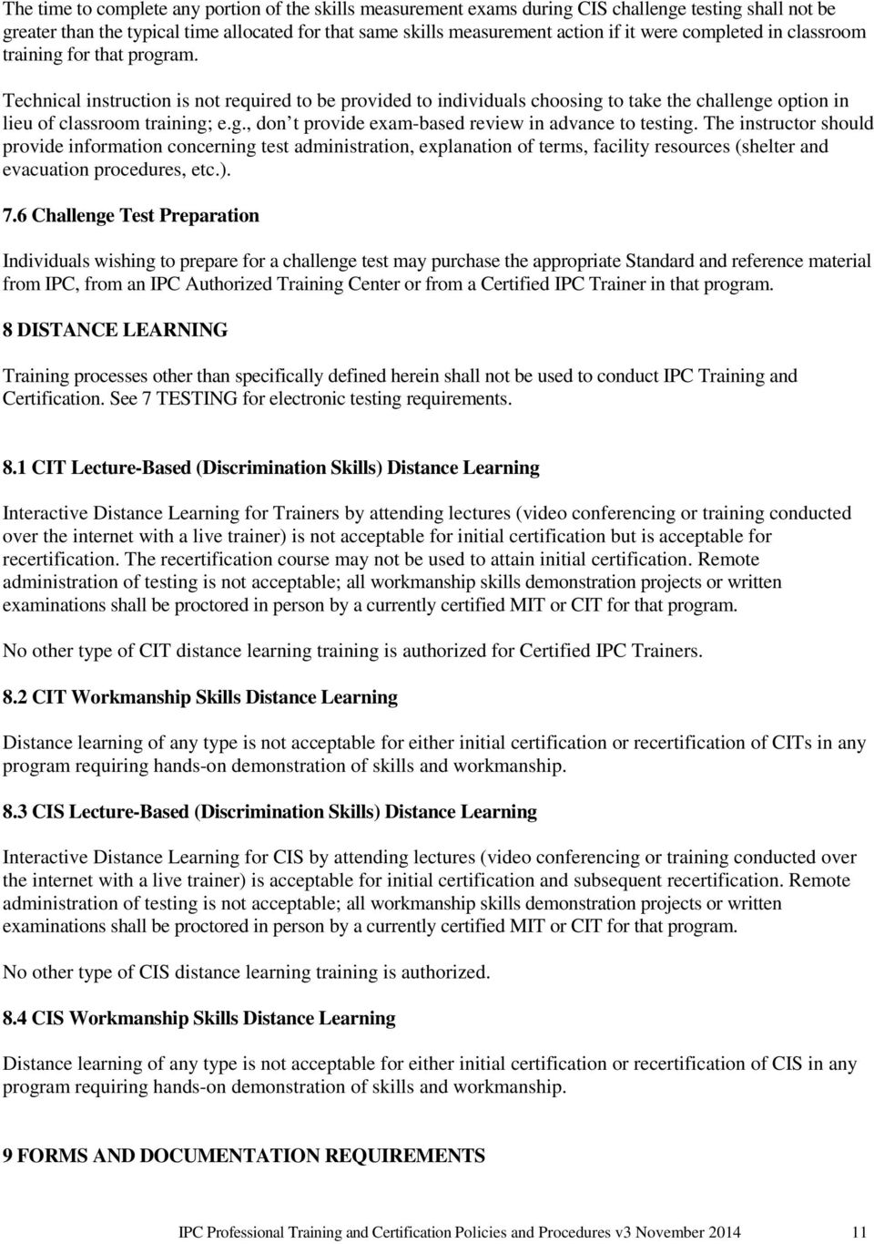 Ipc Professional Training And Certification Policies And Procedures