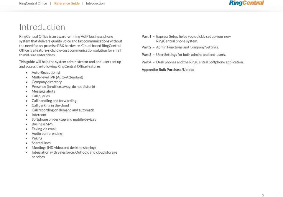 RingCentral Office  Reference Guide for Admins and Users - PDF