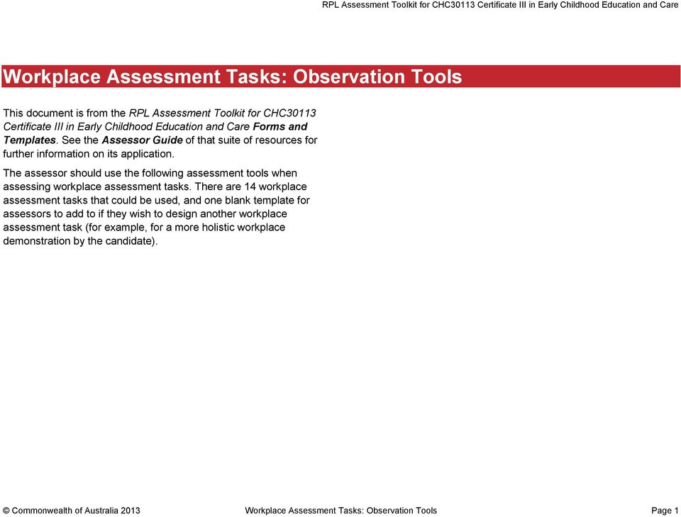 Workplace assessment tasks observation tools pdf the assessor should use the following assessment tools when assessing workplace assessment tasks fandeluxe Choice Image