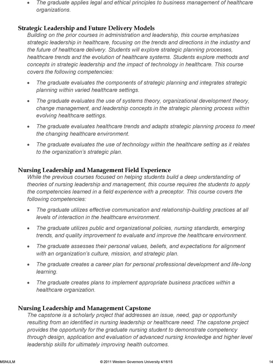 Master of Science in Nursing Leadership and Management - PDF