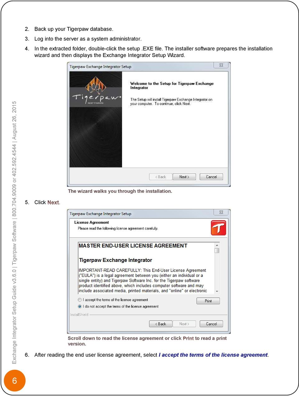 The installer software prepares the installation wizard and then displays the Exchange Integrator Setup Wizard.