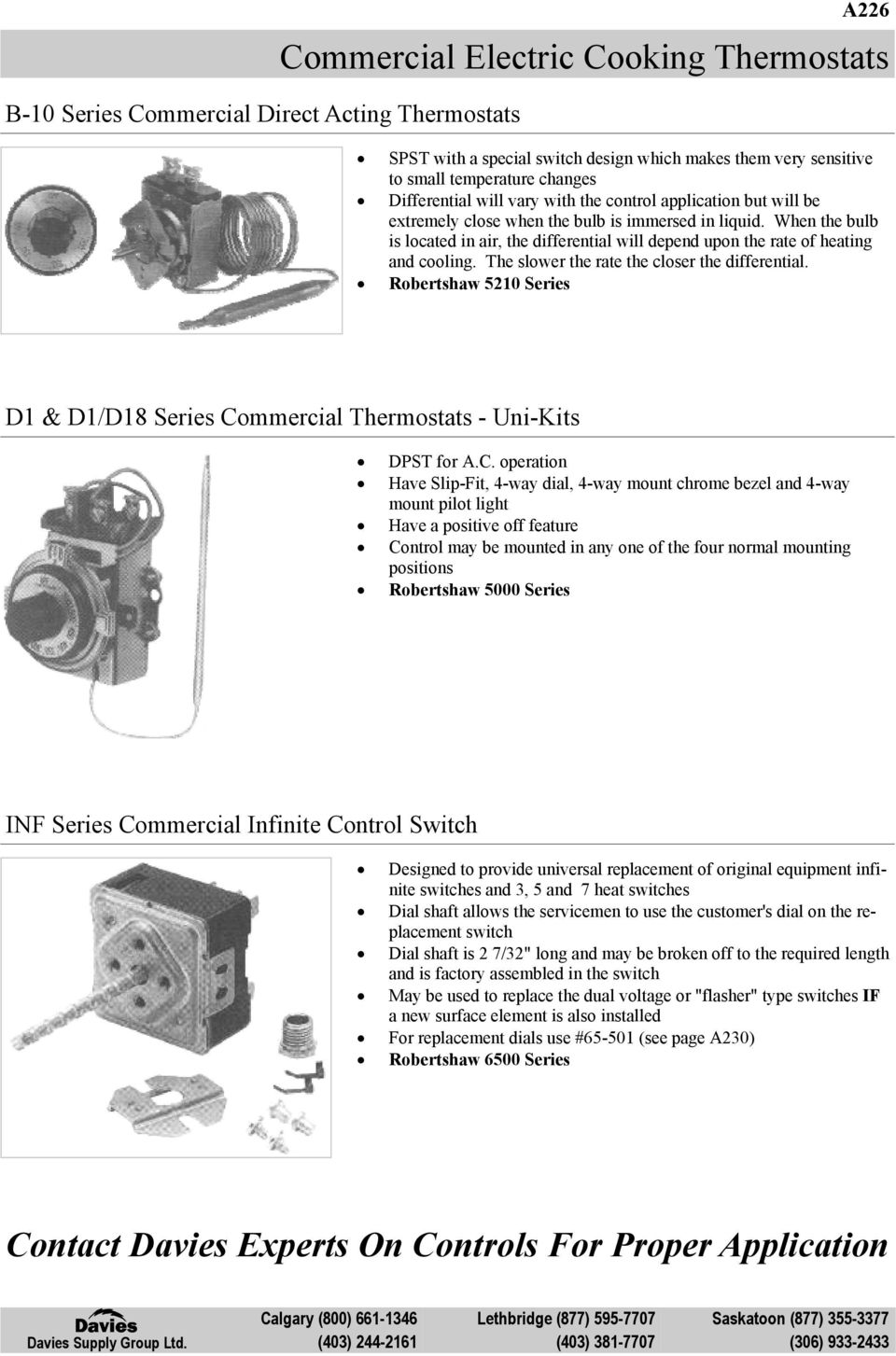 Commercial Gas Cooking Thermostats Pdf Is A 4 Way Switch Dpdt When The Bulb Located In Air Differential Will Depend Upon Rate Of