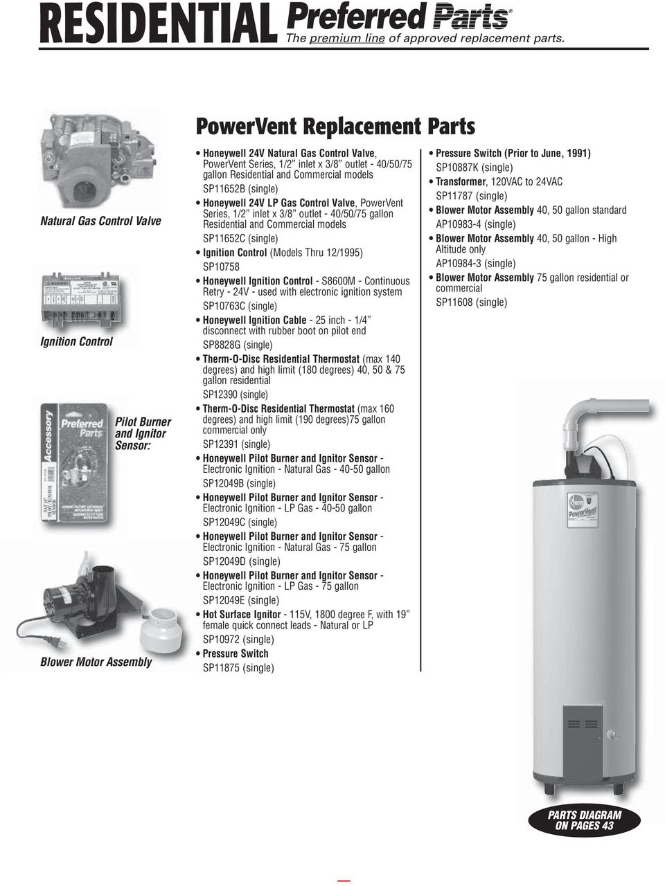 Rheem Water Heater Parts Guide Pdf Honda Pilot Replacement Motor Repalcement And Diagram 3 8 Outlet 40 50 75 Gallon Residential Commercial Models Sp11652b The Premium Line Of Approved