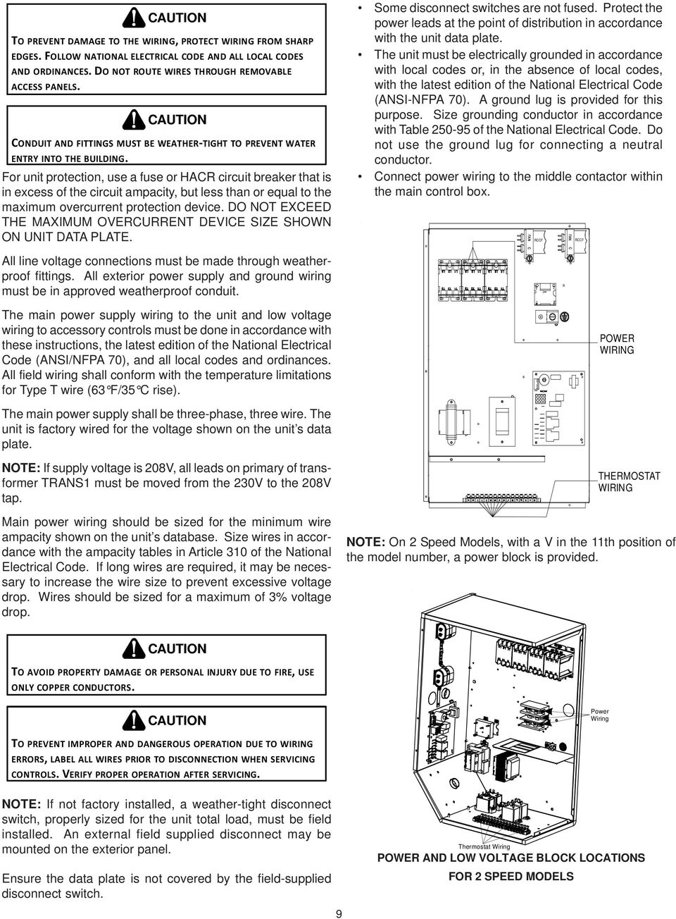 Installation Instructions For Commercial Heating Cooling 75 Ton Electrical Durante Electric Inc Pa Unit Protection Use A Fuse Or Har Circuit Breaker That Is In Excess Of