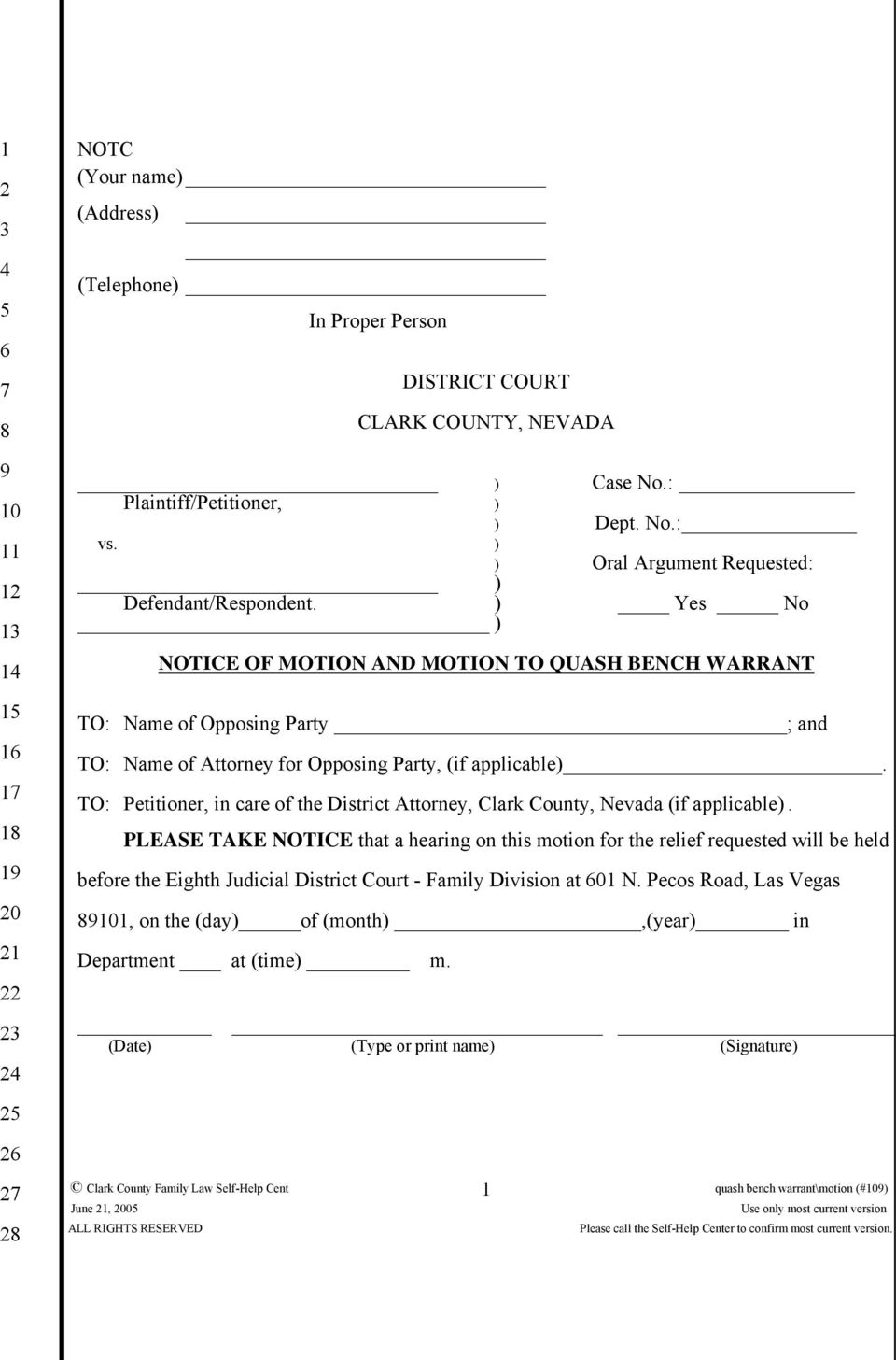 MOTION TO QUASH BENCH WARRANT - PDF