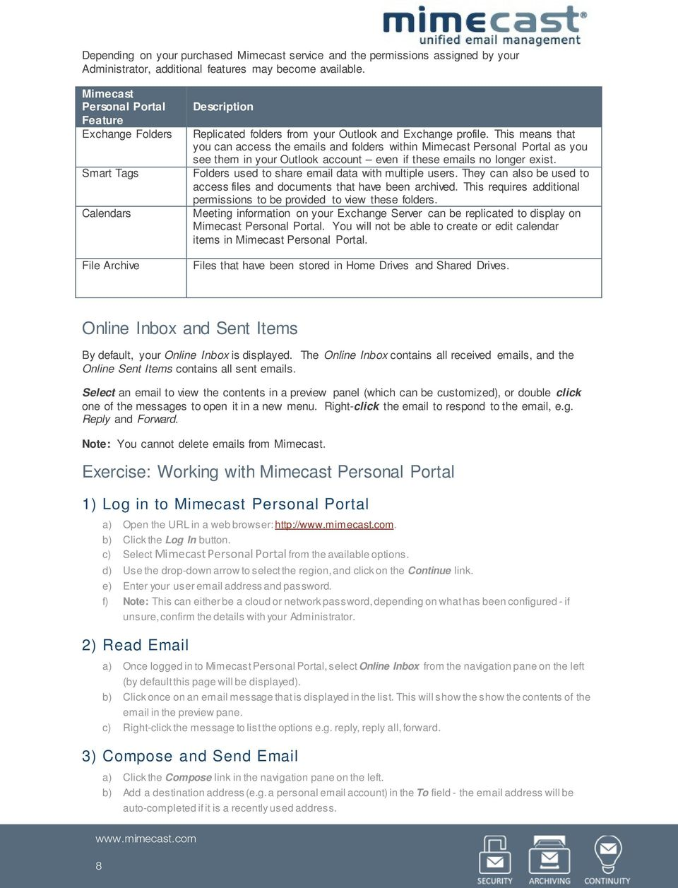 Product Overview  Mimecast Training  Student Workbook V PDF