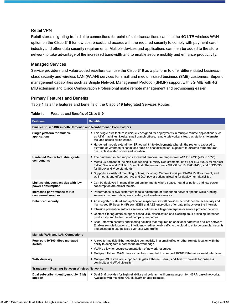 Cisco 819 Machine to Machine Integrated Services Routers - PDF