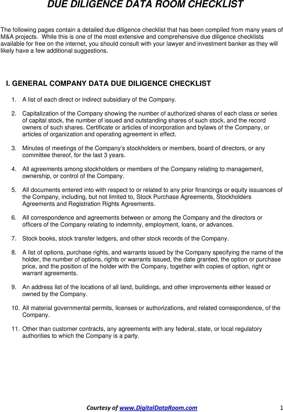 Due Diligence Data Room Checklist Pdf