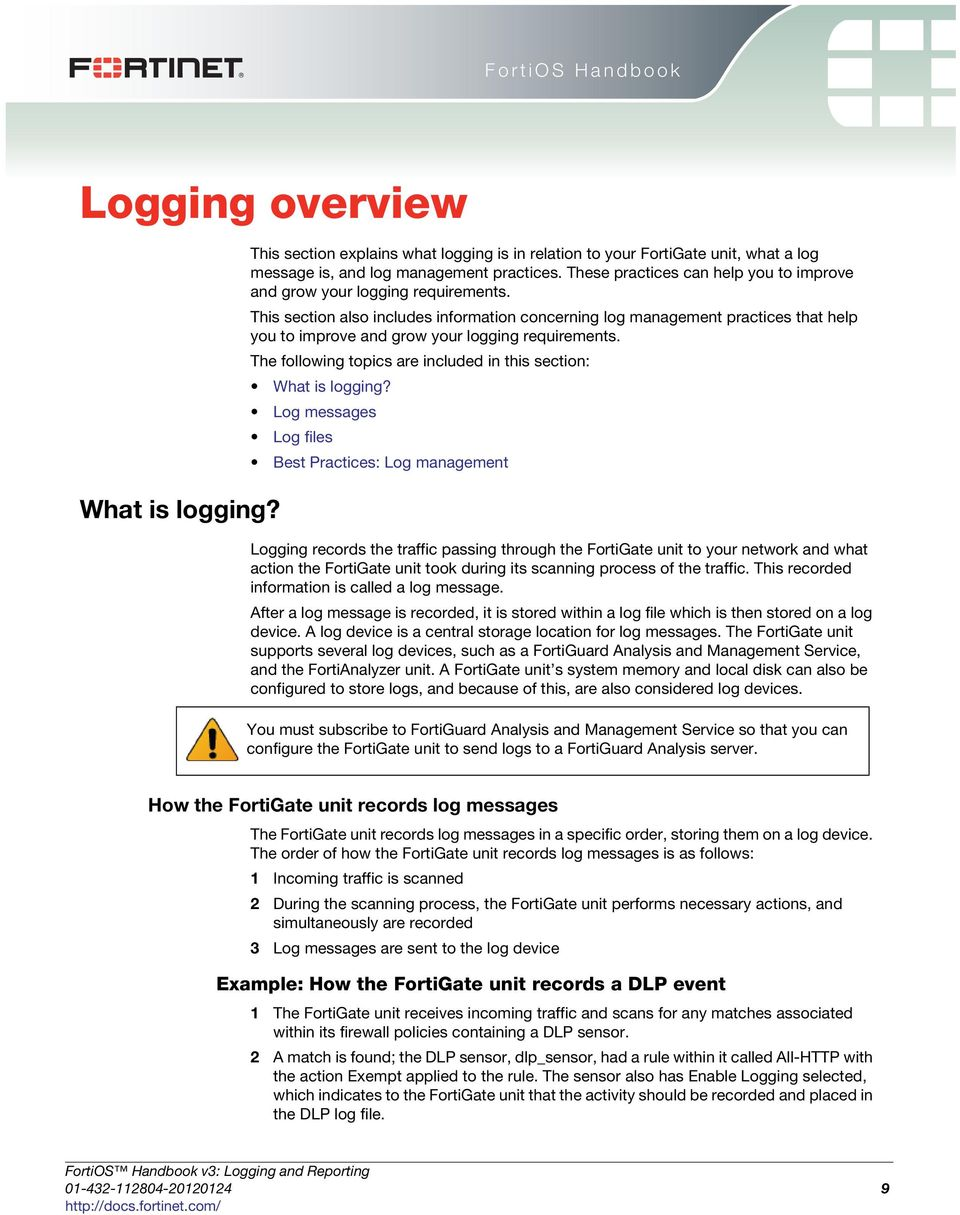 Logging and Reporting  FortiOS Handbook v3 for FortiOS 4 0