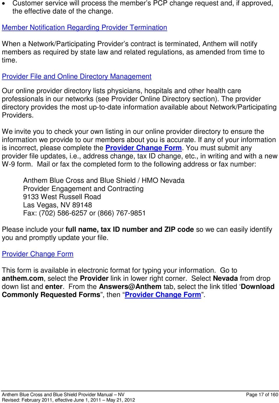 Anthem Blue Cross and Blue Shield Provider Policy and